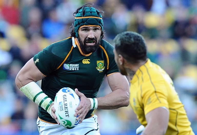 South Africa's Victor Matfield (L) during a Rugby World Cup match in Wellington on October 9, 2011