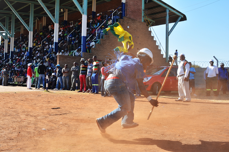 FILE PICTURE: A large gathering of striking miners on 12 June 2014 at Wonderkop Stadium in Marikana, North West. Strikers waited for their spokeman to discuss the new proposed wage increase offer. They were in high spirts singing and dancing after many months of striking. Picture: Valentina Nicol