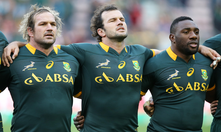 FILE PICTURE:  Jannie du Plessis of South Africa with Bismarck du Plessis of South Africa and Beast Mtawarira of South Africa during the International match between South Africa and World XV from DHL Newlands Stadium on June 07, 2014 in Cape Town, South Africa. Picture: Steve Haag/Gallo Images.