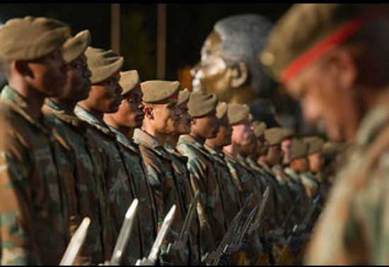 Members of the South African National Defence Force prepare for the State of The Nation Address (SoNA) outside Parliament in Cape Town. (Photo: GCIS)