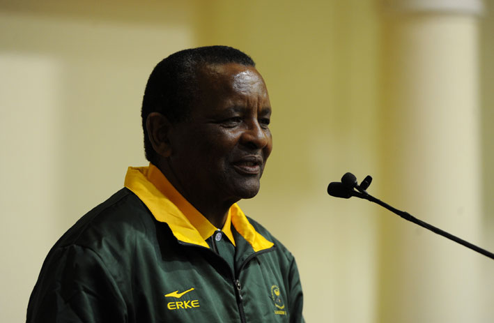 FILE PICTURE: Gideon Sam, president of the South African Sports Confederation and Olympic Committee (Sascoc) speaks at a send-off ceremony for athletes going to the Commonwealth Games in Glasgow, Scotland at the presidential guest house in Pretoria on Tuesday, 15 July 2014. South Africa expects the 187 athletes to return with