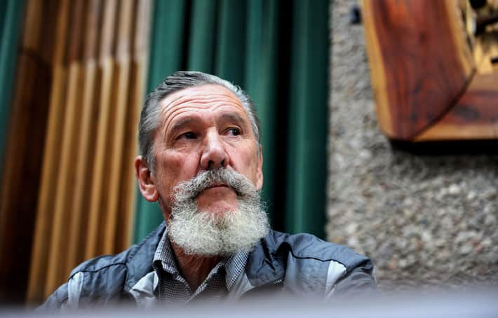 "Sakkie van der Merwe, a member of the Boer-Afrikaner Volksraad, is seen at a news conference in Pretoria, Wednesday, 23 July 2014 on upcoming talks with government about territorial self-determination for what they call ""Boer Afrikaner people"". Picture: Werner Beukes/SAPA"