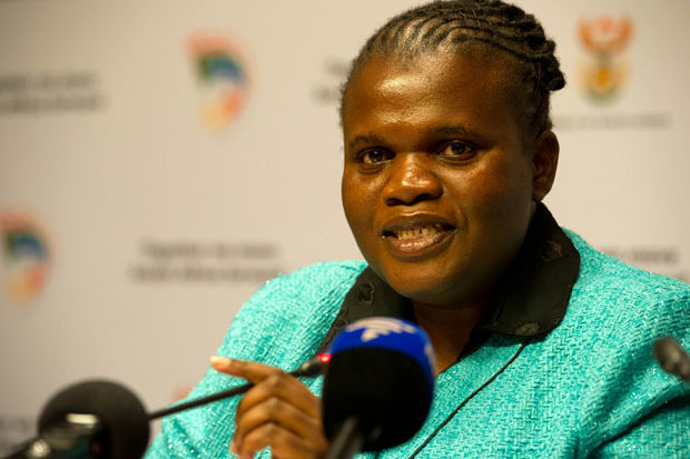 Communications Minister Faith Muthambi addresses media during the post Cabinet media briefing at the Imbizo Centre in Cape Town. (Photo: GCIS)