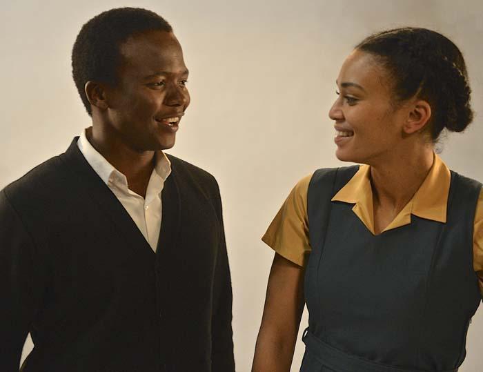 Thabo Rametsi (left) plays Solomon Mahlangu and Pearl Thusi plays his girlfriend, Brenda.