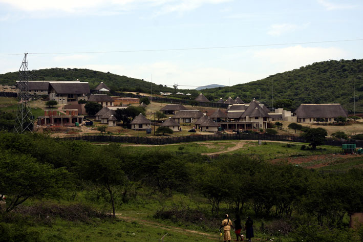 President Jacob Zuma's residence in Nkandla in KwaZulu-Natal on Sunday, 4 November 2012 as seen from the road that was blocked by ANC supporters, who did not want Democratic Alliance leader Helen Zille to inspect Zuma's homestead. Picture: Giordano Stolley/SAPA