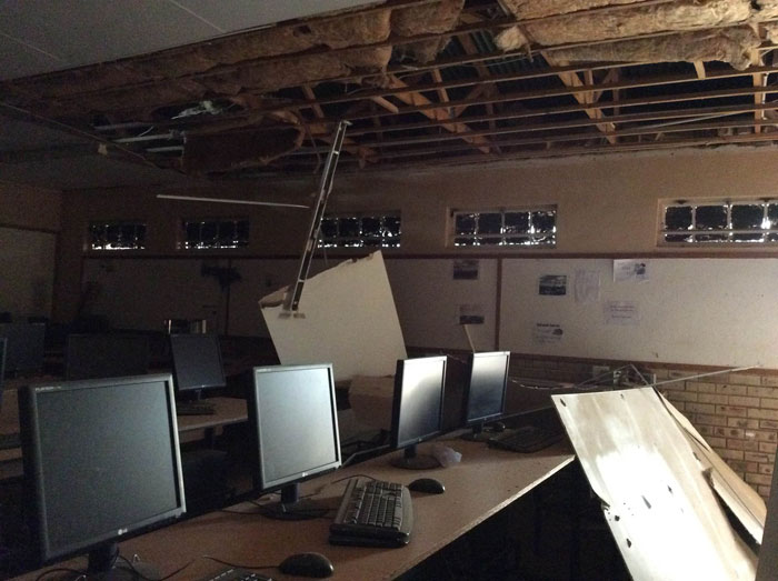The computer lab at Vuyani-Mawethu Secondary school in the township of Khuma near Orkney in the North West province. Orkney was said to be the epicenter of the 5.5 magnitude earthquake that hit South Africa on Tuesday. Picture: SAPA/Karabo