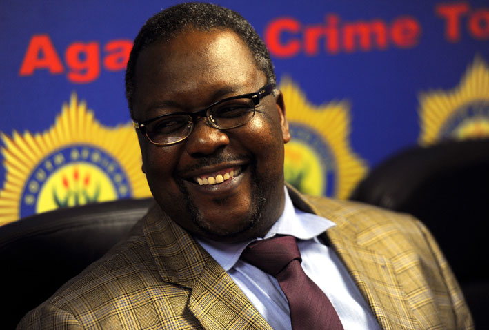 Police Minister Nathi Nhleko answers questions from the media at a news conference during a visit to the provincial head office of the SAPS in Parktown, Johannesburg, Tuesday, 19 August 2014. Picture: Werner Beukes/SAPA