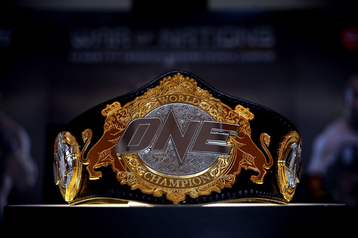 The Welterwight Championship Belt is displayed during the One FC War of Nations bout between Brock Larson and Nobutatsu Suzuki at Stadium Negara March 14, 2014 in Kuala Lumpur, Malaysia. (Photo by Stanley Chou/Getty Images)