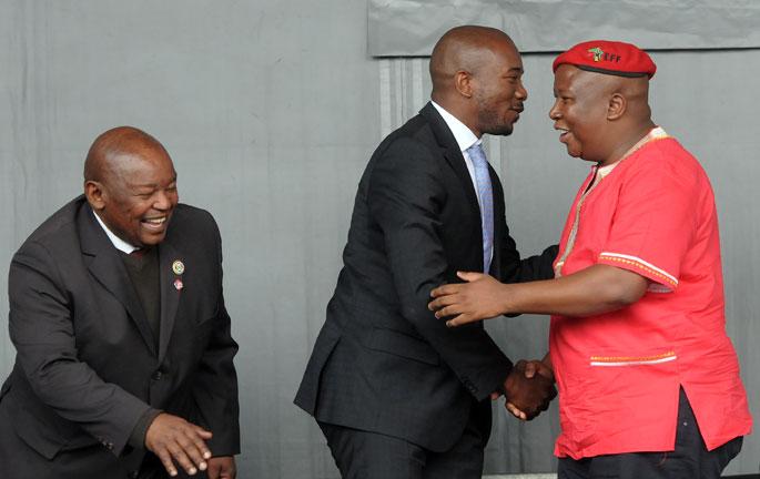 Cope leader Mosioua Lekota (L),  DA leader Mmusi Maimane (c)  and EFF leader Julius Malema. Picture: Nigel Sibanda