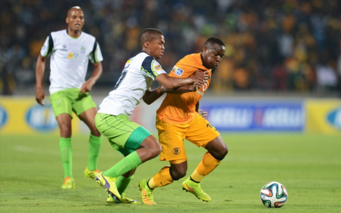 FILE PICTURE: Tshepo Gumede of Platinum Stars and George Maluleka of Kaizer Chiefs during the MTN 8 Semi final, First leg match between Platinum Stars and Kaizer Chiefs at Royal Bafokeng Stadium on August 16, 2014 in Rustenburg, South Africa. (Photo by Lefty Shivambu/Gallo Images)