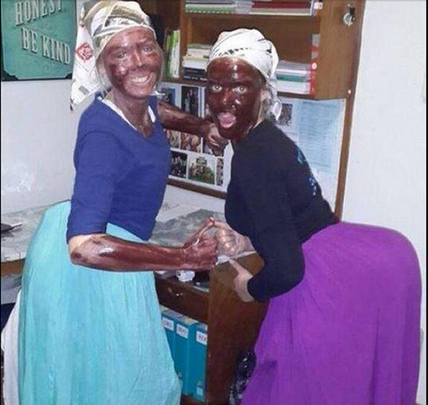 FILE PICTURE: Two UP students attending a party dressed up as domestic servants. Picture: Twitter