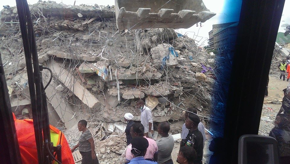 The scene of the collapse of the multi-storey guesthouse of The Synagogue Church of All Nations in Lagos on Friday. Picture Nigerian National Emergency Management Agency facebook page