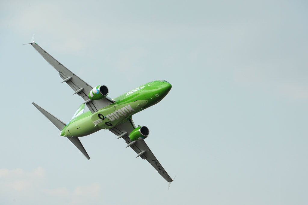 A Kulula Boeing 737 flies over during the Africa Aerospace and Defence Airshow held at the Waterkloof Air Force base in Pretoria, 20 September 2014. The 737 is a twinjet narrow-body airliner. Picture: Refilwe Modise