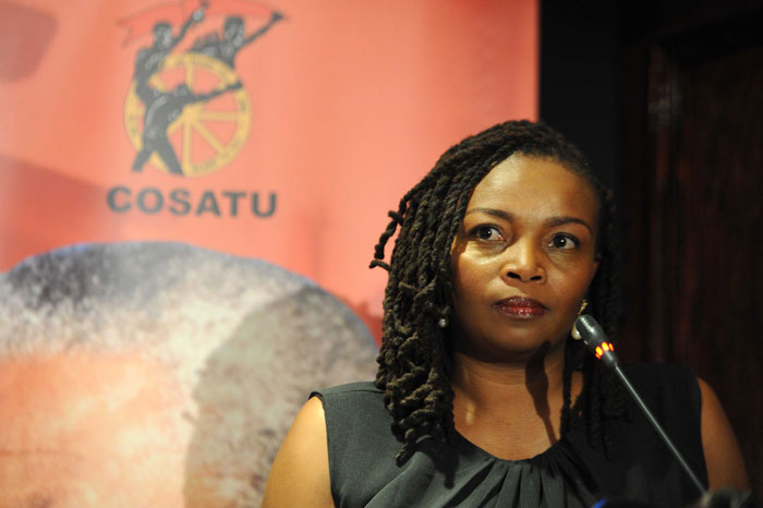 Fired Generations actress Nambitha Mpumlwana looks on during her response to questions from the media during a press briefing at Cosatu House in Braamfontein, 15 September 2014. The union federation Cosatu in support of the 16 Generations actors has called for all South Africans to not tune into the daily soapie as of 15 September 2014 following the firing of these actors. Picture: Refilwe Modise