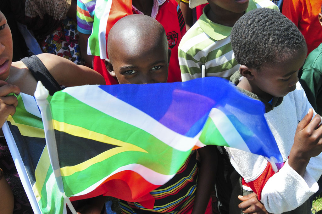FILE PICTURE: A child waving a South African flag. Pic: Alaister Russell.