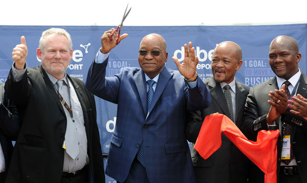 President Jacob Zuma flanked by Minister of Trade and Industry Rob Davies, KwaZulu-Natal Premier Senzo Mchunu and Metropolitan Municipality Mayor James Nxumalo at the launch of the Dube Tradeport Industrial Development Zone (IDZ) at King Shaka International Airport in Kwazulu-Natal. Picture: GCIS