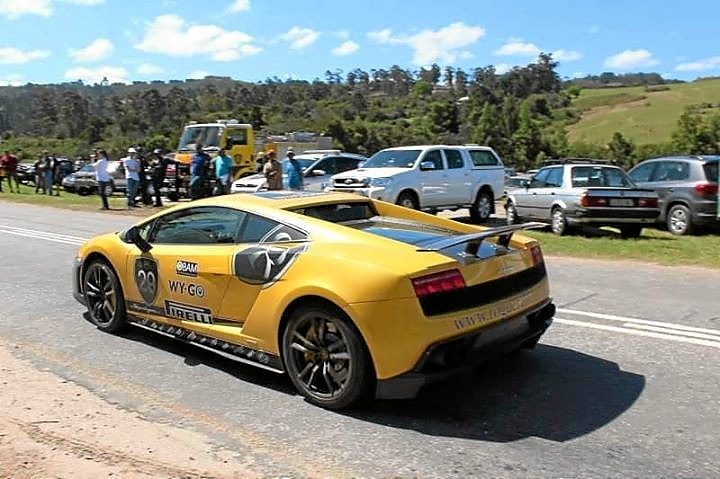 Louis Oelofse's yellow Lamborghini at the start of the Knysna leg of the Rogue Rally. Picture: Francois Germishuys