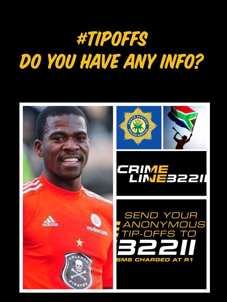 FILE PICTURE: A poster with information on the reward offered for information on the suspects involved in Senzo Meyiwa's murder.