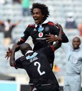 FILE PICTURE: Issa Sarr of Pirates celebrates his goal during the Telkom Knockout match between Orlando Pirates and Polokwane City at Orlando Stadium on October 05, 2014 in Soweto, South Africa. (Photo by Duif du Toit/Gallo Images)