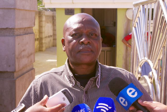 Senzo Meyiwa's father Sam Meyiwa is seen speaking to reporters outside his house in Umlazi. Picture: Giordano Stolley/SAPA