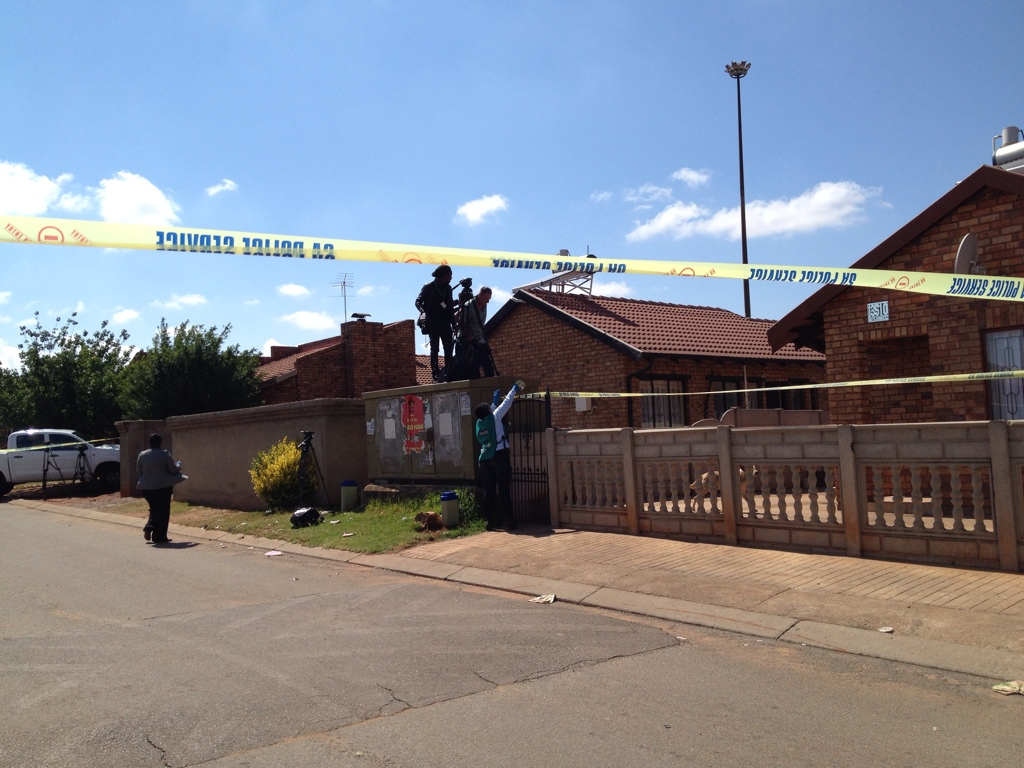FILE PICTURE: Kelly Khumalo's parents' house where Bafana Bafana and Orlando Pirates captain Senzo Meyiwa was shot yesterday in the Zamo Section in Vosloorus, is cordoned off as a crime scene. Picture: Tracy Lee Stark