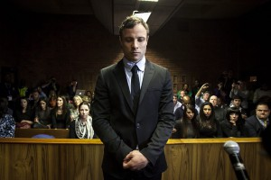 A file picture dated 19 August 2013 shows South African Paralympic athlete Oscar Pistorius as he appears in the Pretoria Magistrates court in Pretoria, South Africa. Pistorius was found guilty of culpable homicide of his girlfriend Reeva Steenkamp on 12 September 2014. The sentence is expected to be announced on 21 October.  EPA/STR