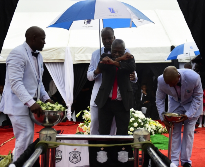FILE PICTURE: Senzo Meyiwa's father Samuel Meyiwa during the funeral service of Senzo Meyiwa on November 1, 2014 in Durban South Africa. The Bafana Bafana captain was shot and killed at his girlfriend, Kelly Khumalo's, house last Sunday evening. He was buried alongside Nat Nakasa at the Heroes Acre.(Photo by Gallo Images / Daily Sun / Trevor Kunene)