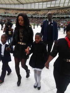 Senzo Meyiwa's two children have arrived at Moses Mabhida Stadium, accompanied by a relative. Picture: Clive Nduo