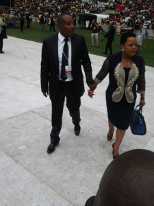 Gospel singer, Rebecca Malope arrives at the funeral. Clive Nduo