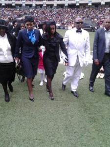 Bafana Bafana captain, Senzo Meyiwa's widow has arrived. Picture: CLive Nduo