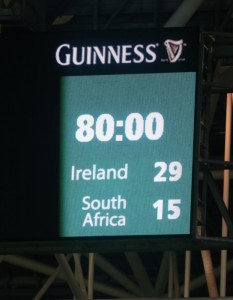 The final score during the Castle Lager Outgoing Tour match between Ireland and South Africa on November 08, 2014. Picture: Steve Haag/Gallo Images