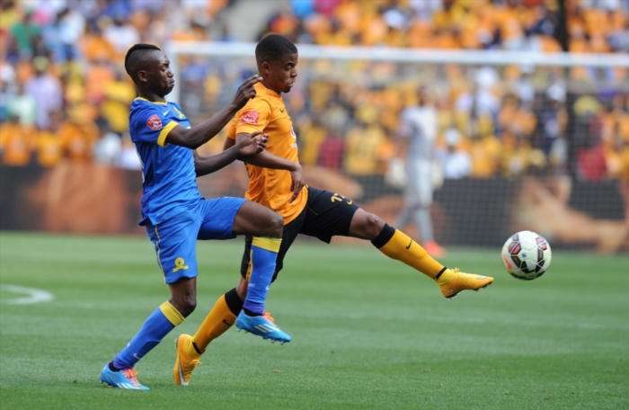 FILE PICTURE: George Lebese of Chiefs battling for the ball Khama Billiat of Sundowns during the Absa Premiership match between Kaizer Chiefs and Mamelodi Sundowns at FNB Stadium on November 22, 2014 in Johannesburg, South Africa. (Photo by Gallo Images)