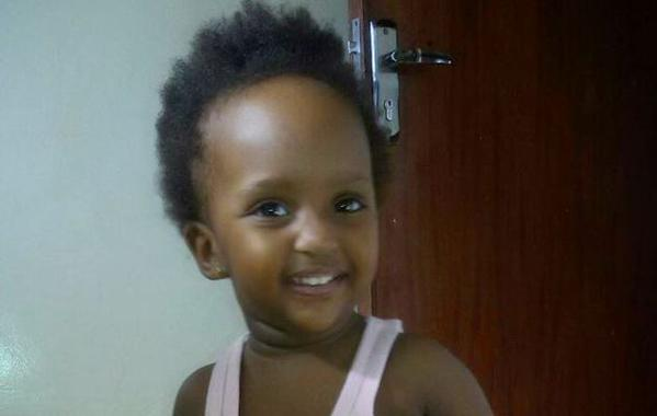 18-month-old Ugandan girl Arnella Kamanzi is reportedly doing well following the incident. Pic: Twitter.