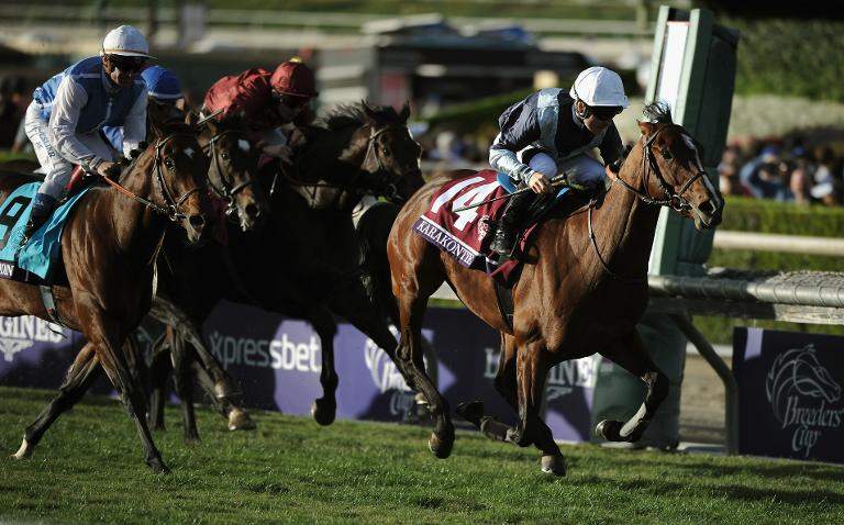 Getty Images/AFP / Harry How<br />Jockey Stephane Pasquier of France atop Karakontie (Japan) crosses the finish line to win the 2014 Breeders' Cup Mile at Santa Anita Park on November 1, 2014 in Arcadia, California