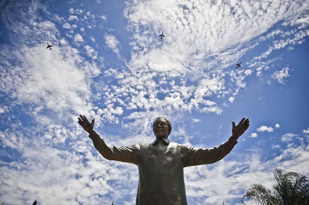 FILE PICTURE: A nine metre high statue of former President Nelson Mandela in Pretoria, South Africa. (Photo by Gallo Images / Foto24/ Alet Pretorius)