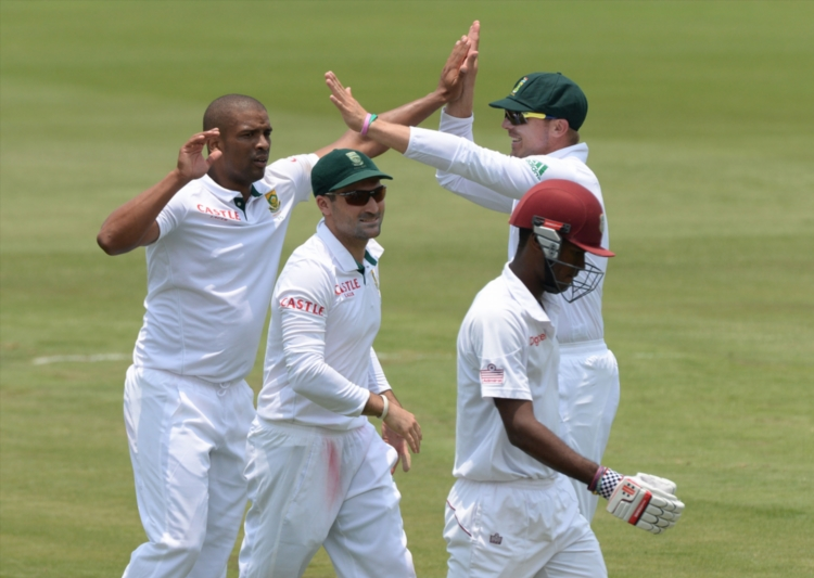 FILE PICTURE. Vernon Philander celebrates the wicket of Kraigg Braithwaite of West Indies for 34 runsduring day 3 of the 1st Test match between South Africa and West Indies at SuperSport Park on December 19, 2014 in Pretoria, South Africa. (Photo by Duif du Toit/Gallo Images)