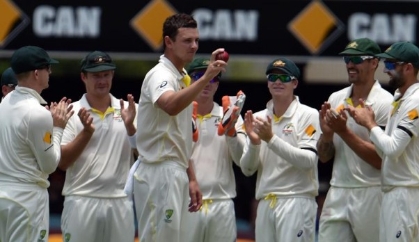 AFP / Saeed Khan Australian paceman Josh Hazlewood celebrates his five wickets in an innings against India on the second day of their 2nd Test match, at The Gabba in Brisbane, on December 18, 2014