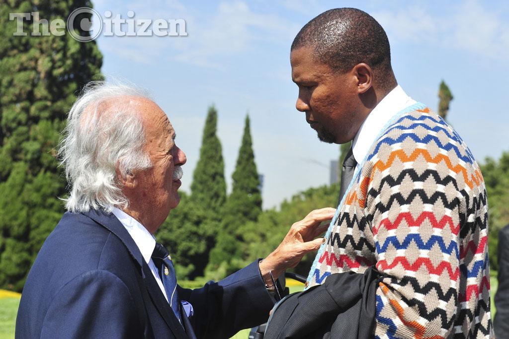 George Bizos and Mandla Mandela. Picture: Christine Vermooten