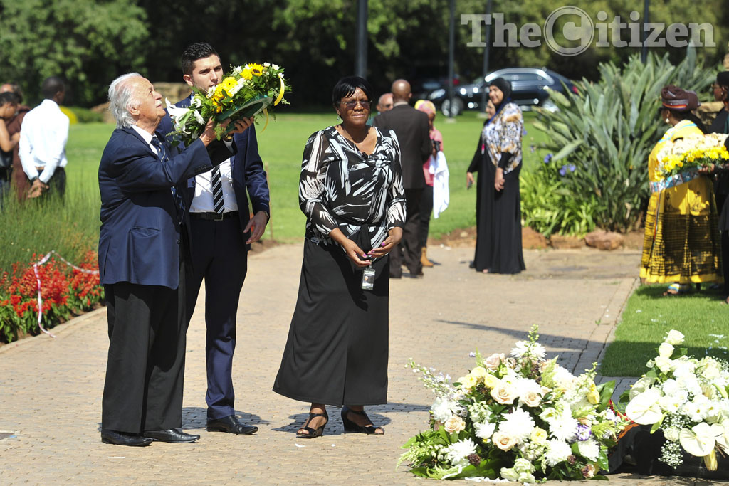 George Bizos lays a wreath at the statue of Nelson Mandela at the Union Buildings in Pretoria on 5 December 2014 at the commemoration of the first anniversary of the death of  Madiba. Picture: Christine Vermooten
