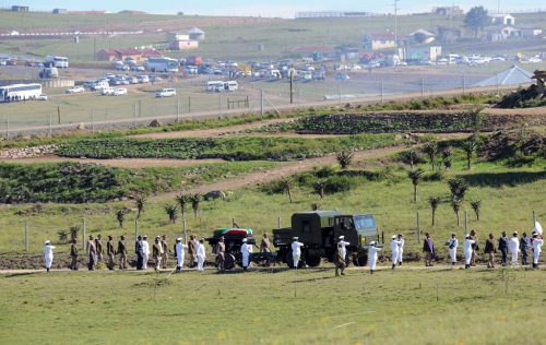 FILE PICTURE: The funeral procession of former president Nelson Mandela is seen inside the Mandela farm in Qunu Eastern Cape on Sunday. Picture: Felix Dlangamandla/POOL