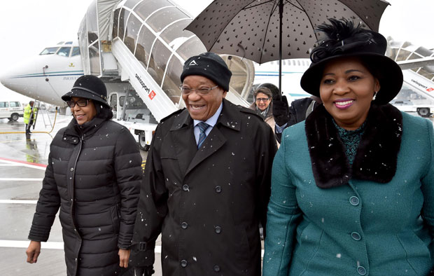 President Jacob Zuma and his wife Bongi Zuma are welcomed by Ambassador Claudinah Ramosepele (left) at the Zurich International Airport in Switzerland ahead of the World Economic Forum in Davos. (Photo: DOC)