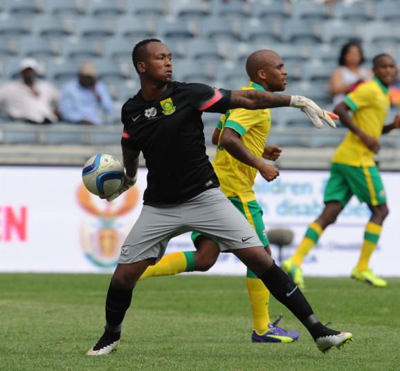 Brilliant Khuzwayo in action against Zambia. Pic: Sydney Mahlangu/BackpagePix