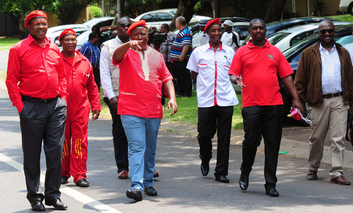 FILE PICTURE: EFF Chairperson Dali Mpofu (L) and EFF president  Julius Malema leave the home of  late former police commissioner Jackie Selebi's home in Waterkloof Ridge in Tshwane, 27 January 2014. Picture: Nigel Sibanda