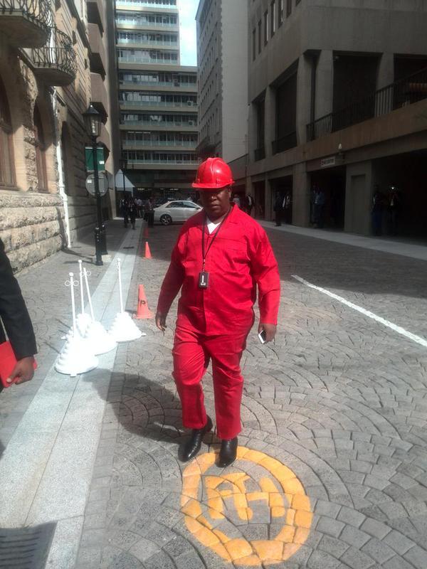 Julius Malema wore the EFF's trademark overalls. Picture: @NakoeII, Twitter