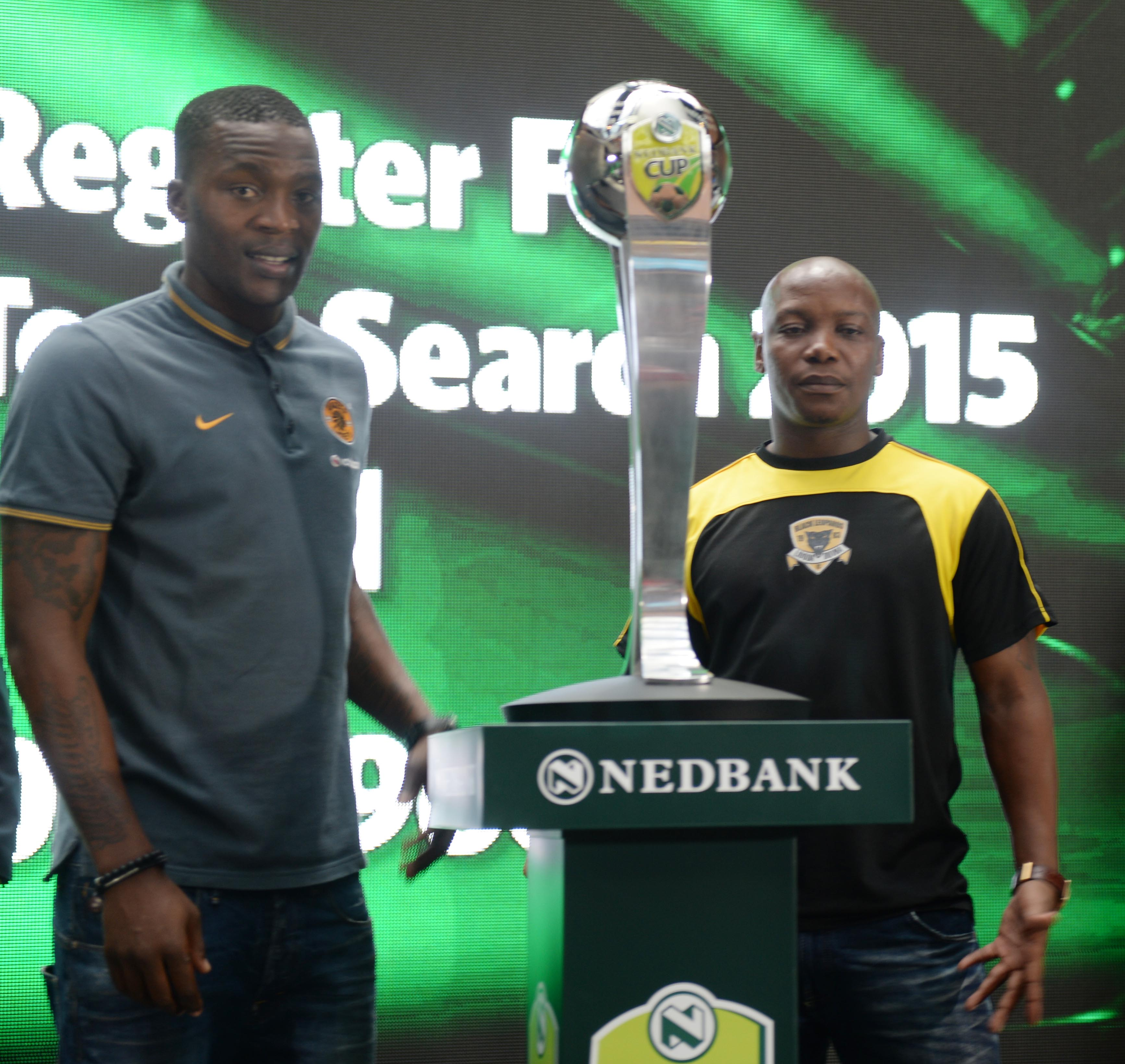 Morgan Gould of Kaizer Chiefs and Mbongezi Bobe during the 2015 Nedbank Cup Last 16 draw at Carlton Centre on February 26, 2015 in Johannesburg, South Africa. (Photo by Lefty Shivambu/Gallo Images)