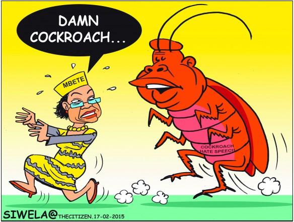 Cartoon of Baleka Mbete running away from cockroach Julius Malema