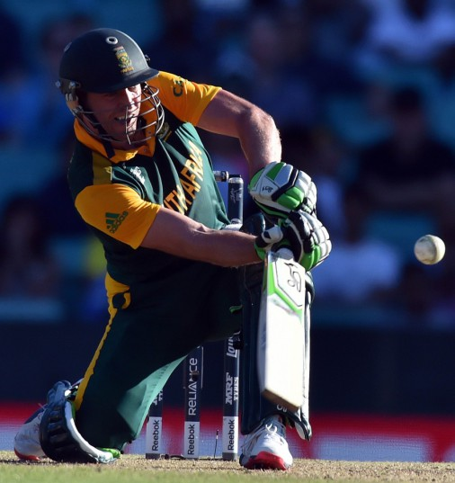 FILE PICTURE: South African captain AB de Villiers smashed the second fastest World Cup century off 52 balls in the Pool B game against the West Indies at the Sydney Cricket Ground on Friday. Picture: AFP PHOTO