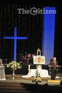 Pastor Willem Badenhorst speaks at the Van Breda's memorial service at the Dutch Reformed Church in Moreleta Park on 5 February 2015 in Pretoria. Picture: Christine Vermooten
