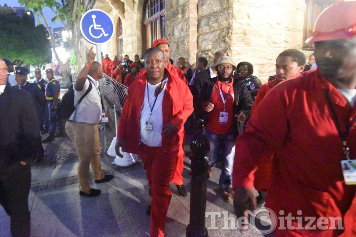 EFF leader is pictured outside parliament after being removed from the state of the nation address in Cape Town, 12 February 2015. Picture: Refilwe Modise