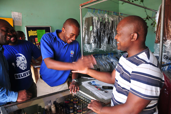 DA parliamentary leader, Mmusi Maimane talks to local business owners, 1 February 2015, in Dobsonville, Soweto. Maimane was in the area as a part of his Power to the People tour. Picture: Alaister Russell
